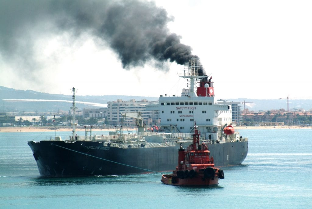Black smoke from ship